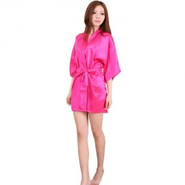 Shop Sexy Pink Crepe Robe With Free Thong