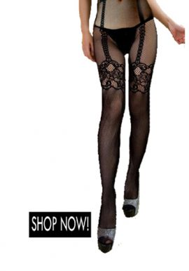 Temptlife Black Fishnet High Waist Stocking With Thong