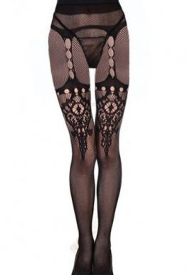 Temptlife Black Flower Design Fishnet Tight With Thong