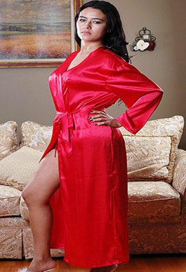 Women's Long Full Length Crepe Red Robe With Free Thong