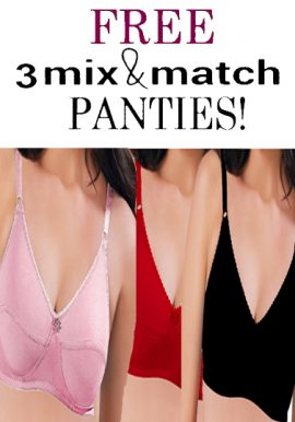 3 Wide Straps Plus Size Cotton Bra Free Matching Panties