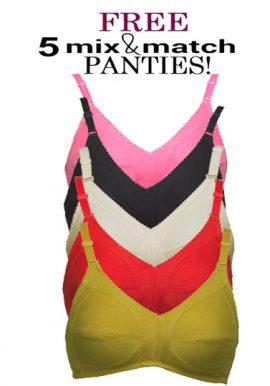 5 Wide Straps Cotton Plus Size Bra Free Mix N Match Panties