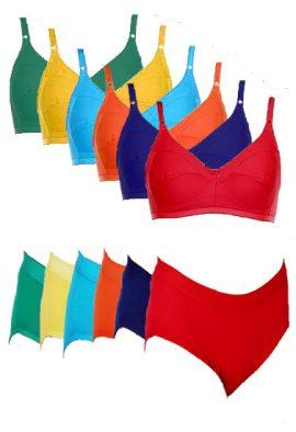Wholesale Lot 6 Comfort Stretch Fit Cotton Bra Panty Set