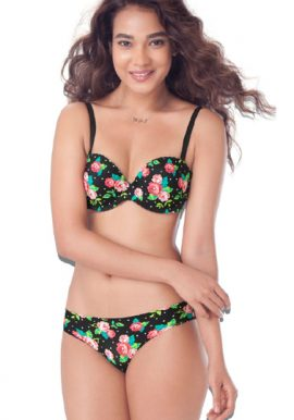 Floral Print Demi Cup Bra Bikini Brief Set