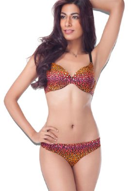 Colorful Animal Print T-shirt Bra Bikini Panty Set