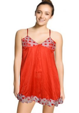 Red Royal Short Nighty With Matching G-String
