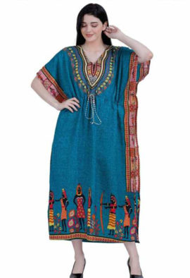 Women's African Kaftan Teal Blue Nightgown