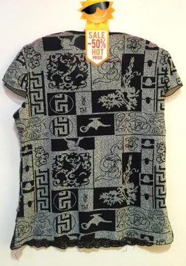Ladies Black & Grey Mixed Print Loose Fit Top
