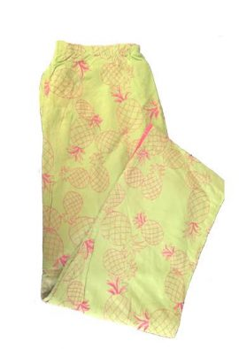 Mureli Pineapple Thread Print Capri With Half Elastic Back Waistband