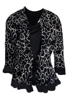 Ruffle Classic Open Front Cardi With Inside Attached Cami For Women