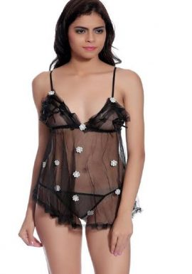 Snazzyway Flower & Mini Lace See Through Hot Sleepwear Chemise