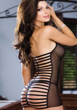 Ladies Stripes Bandage Backless See Through Babydoll Sleepwear