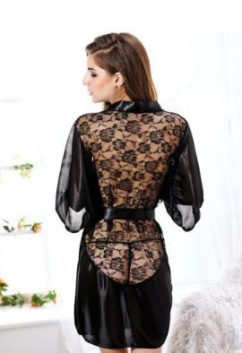 Snazzyway Sexy Back Fleece Lace Gown Bath Robe Nightdress