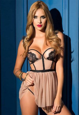 Snazzyway Sexy Lace Open Cups Exotic Strappy Chemise Babydoll