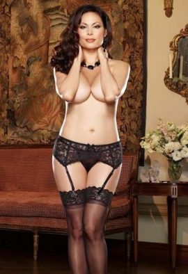 Snazzyway Stretch Lace Garter Belt With See Through Thong