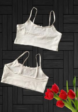 George Cute White Crop Top Bra For Little Angle