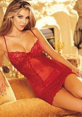 Red Sexy Lace Trim Babydoll