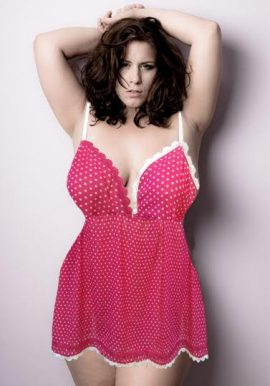 Sexy Polka Dot With Lace Babydoll Plus Size Chemise Nightwear
