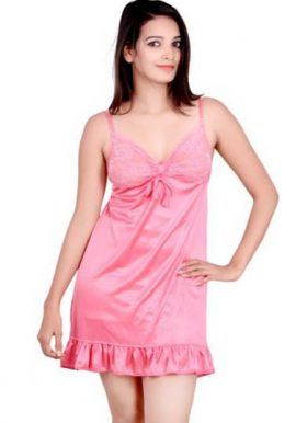 Snazzyway Pink Satin Lace Babydoll