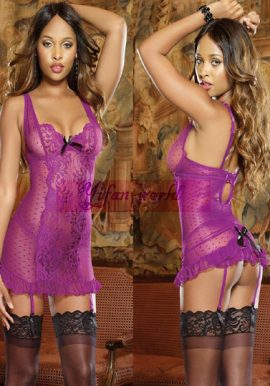 Snazzyway Purple Floral Lace Chemise Babydoll with Matching G-String