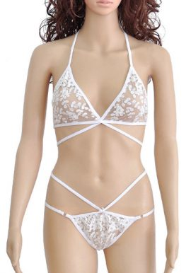 Snazzyway Ultra Thin White Lashes Lace Lingerie Set