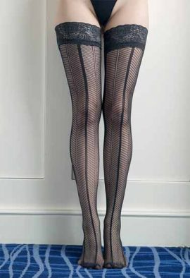 Women's Lace Ultra Sheer Fishnet Thigh High Stockings