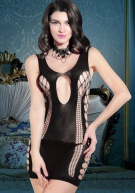 Snazzyway New Black Sexy Hollow Cut Babydoll Sleepwear Dress