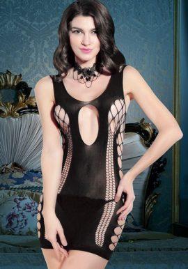 Snazzyway New Black Sexy Hollow Cut Babydoll Sleepwear Dress