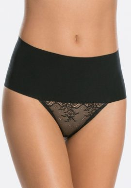Black Fishnet Lace Mesh High Waisted Thong Panty
