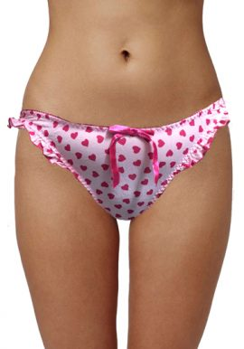 Ladies Cute Heart Print Ruffle Plush Thong