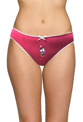 Disney White Trimmed Perfect Fitted Red Cotton Panty