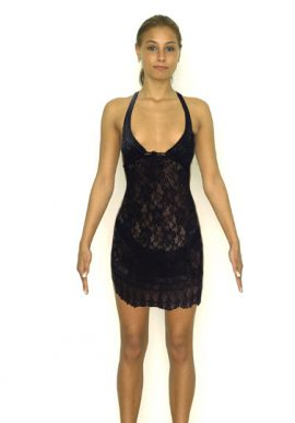 H&M Black Eyelash Mesh Lace Accent Babydoll