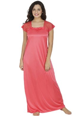 Peach Pink Satin Floral Lace Sleeve Full Length Nightgown