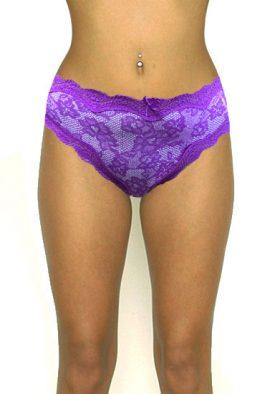 M&S Violet Floral Print Lace Border Bikini Bottom