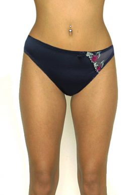 St. Bernard Black Floral Embroidery Touch Bikini Bottom