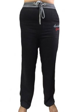 Fashion Girl Black Stretch Cotton Fit Track Pant