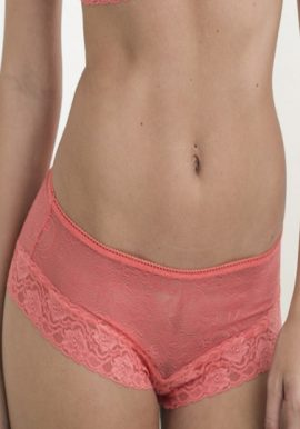 Ladies Peach Beautiful Floral Lace Edges Intimate