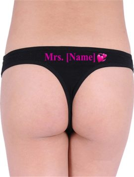 Personalized White Organic Cotton Bridal Thong Panty