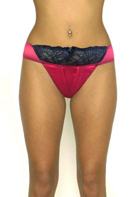 Red Satin Black Lace Reliable Ladies Thong Panty