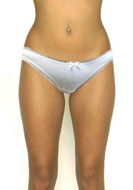 Secret Possessions Low Rise Lace Illusion Cotton Panty In White