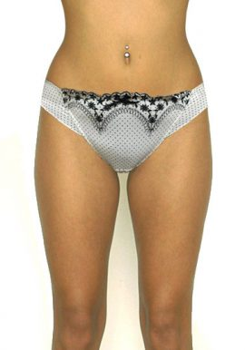 White & Black Thread Embroidery Frill Thong Panty