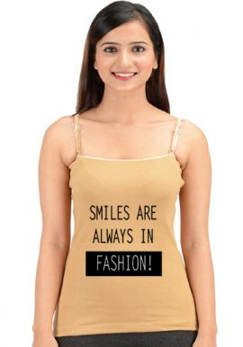 Beige Colored Black Wording Spaghetti Strap Camisole