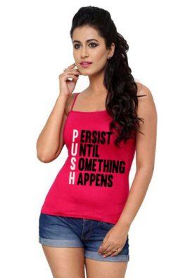 Solid Pink Cotton Detachable Straps Versatile Camisole