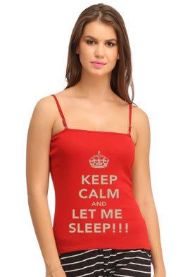 Red Cotton Stretch Detachable Straps Cami Tank Top