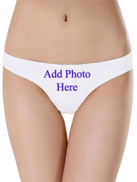 Custom Photo- White Low Waist Cotton Thong Panty