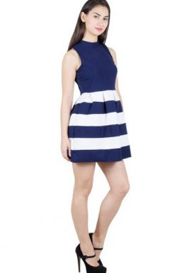 Blue White Illusion Skater Dress