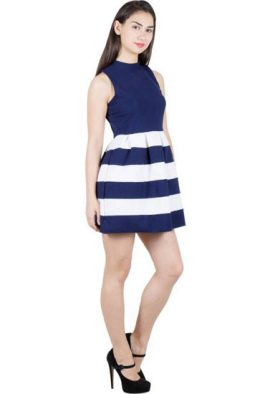Blue White Illusion Skater Dress