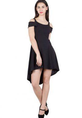 Dramatic Entrance Black Cold Shoulder Hi-Low Party Dress