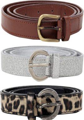 Ladies Pk Of 3 Mix Textured Leather Belt