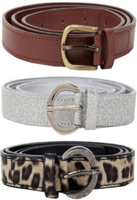 Ladies Pk Of 3 Mix Textured Leather Belt